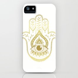 Hamsa Hand - Gold iPhone Case