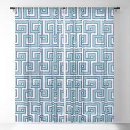 Greek Key - Turquoise Sheer Curtain