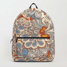 orange and blue pattern Backpack