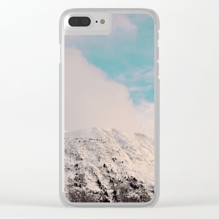 Black, White & Turquoise Winter Clear iPhone Case