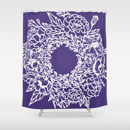 White Flowery Linocut Wreath On Checked UltraViolet Shower Curtain