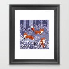 Foxes and Fireflies Framed Art Print