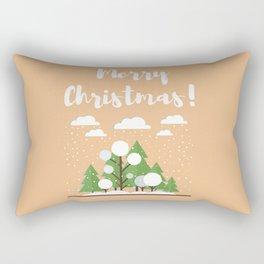 Merry Chrstmas - Christmas Trees In The Snow Rectangular Pillow