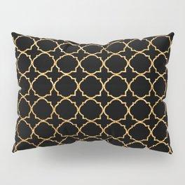 Elegant black faux gold glitter chic quatrefoil vector illustration Pillow Sham