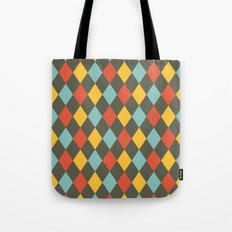 Grey Argyle Tote Bag