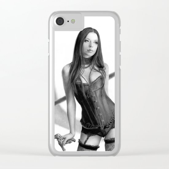 Just a woman - pencil drawing Clear iPhone Case