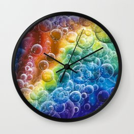 Rainbow of Impact Bubbles Wall Clock