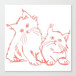 Katzen 001 / Minimal Line Drawing Of Two Cats Canvas Print