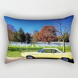 Old Car, Older Cemetary Rectangular Pillow