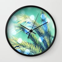 palm Wall Clocks featuring palm by laika in cosmos