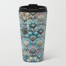 Vintage patchwork with floral mandala elements Metal Travel Mug