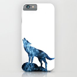 Howling Wolf blue sparkly smoke silhouette iPhone Case
