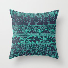 Mountain Tapestry in Midnight Teal Throw Pillow