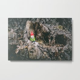 Oli the Gnome in His Summer House Metal Print