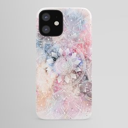 Whimsical white watercolor mandala design iPhone Case