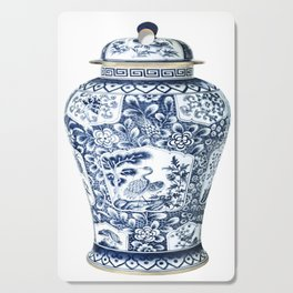 Blue & White Chinoiserie Cranes Porcelain Ginger Jar Cutting Board