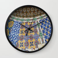 mexican Wall Clocks featuring Mexican Tiles by Renee Trudell