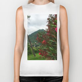 Flower and mountain Biker Tank