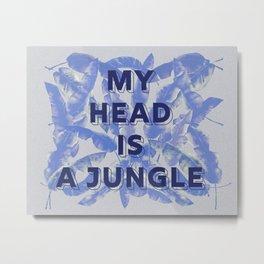My head is a jungle - blue banana leaves Metal Print