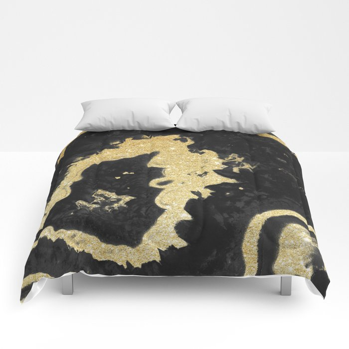 Black & Golden Agate Comforters