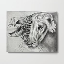 Lion Skeletal Portrait Metal Print