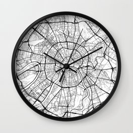 Moscow Map White Wall Clock