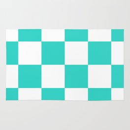 Large Checkered - White and Turquoise Rug