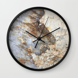 Browns, Creams, and Soft Blue Marble Wall Clock