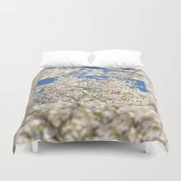 white flowers of Cerasus Duvet Cover