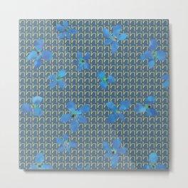 Floral pattern C (blue on blue) Metal Print