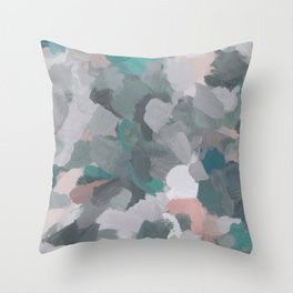 Mint Teal Blue Coral Pink Heather Gray Abstract Flower Wind Expressive Painting Modern Wall Art Throw Pillow