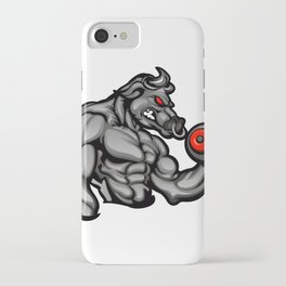 a strong angry bull with a barbell iPhone Case