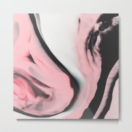 Modern pink marble and black Metal Print