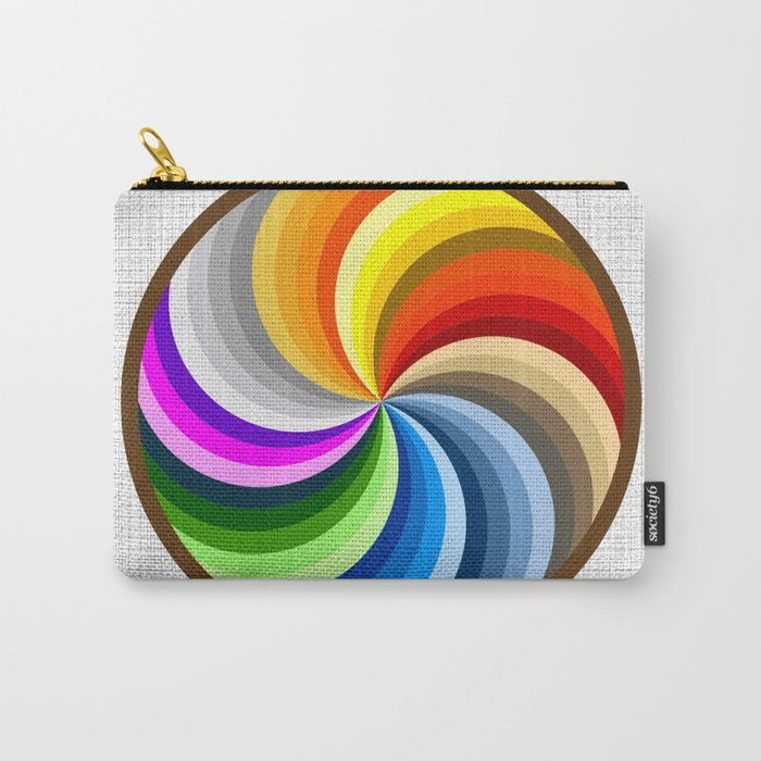 Rainbow Swirl Multi-Coloured Circle Design Carry-All Pouch
