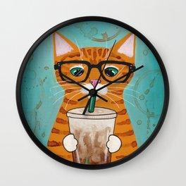Iced Coffee Cat Wall Clock