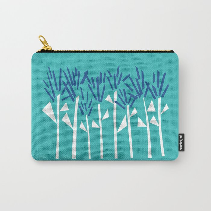 Tropical Blue Plants by Emma Freeman Designs Carry-All Pouch