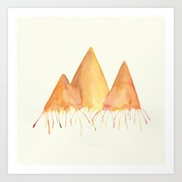 Dripping Watercolor Mountains Art Print