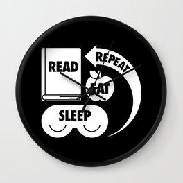 Read. Eat. Sleep. Repeat. Wall Clock