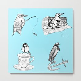 Whimsical Ink Birds - Kingfisher, Woodpecker, Tit, Heron Metal Print