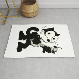 Felix The Cat Playing Ukulele, Artwork forMen, Women, Kids Rug