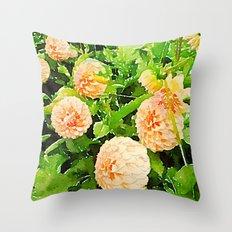 Peaches and Cream Dahlias Throw Pillow