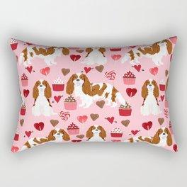Cavalier King Charles Spaniel blenheim valentines day cupcake heart dog breed spaniels pet gifts Rectangular Pillow
