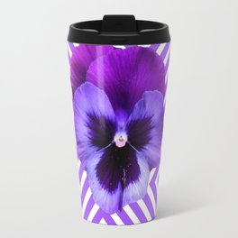 LILAC PURPLE ON PURPLE PANSIES  FLOWERS PATTERNS Travel Mug