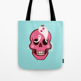 Cute Skull With Spider And Ghosts In Eye Sockets Tote Bag