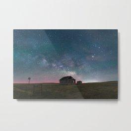 Lonely Barn Under a Starlit Sky Metal Print