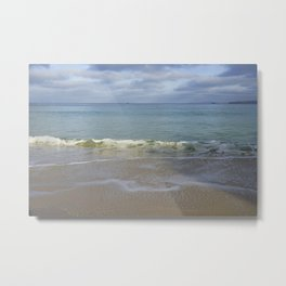 Turquoise Winter Waves and Sky Metal Print