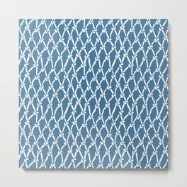 Fishing Net Blue Metal Print