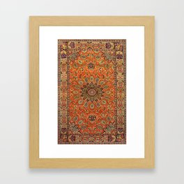 Central Persia Qum Old Century Authentic Colorful Orange Yellow Green Vintage Patterns Framed Art Print