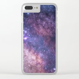 Purple Galaxy Star Travel Clear iPhone Case