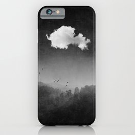 Bright Cloud Over Misty Woodlands iPhone Case